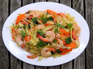 Salads, shrimp, Chinese-style shrimp salad with mint 1