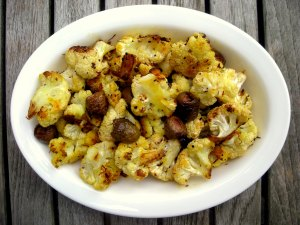 Vegetables, cauliflower, roasted, cavolfiore soffocato (with olives and saffron) 1
