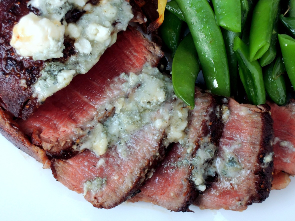 Beef, pan-seared filets mignon with bacon and blue cheese 3