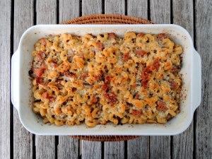 Pasta, macaroni and cheese with ham and mushrooms 1