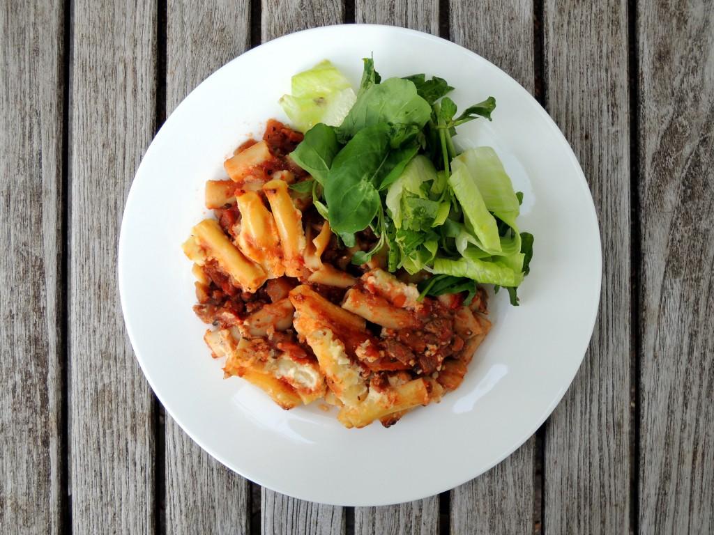 Pasta, macaroni, Greek pastitsio with eggplant and lamb 4
