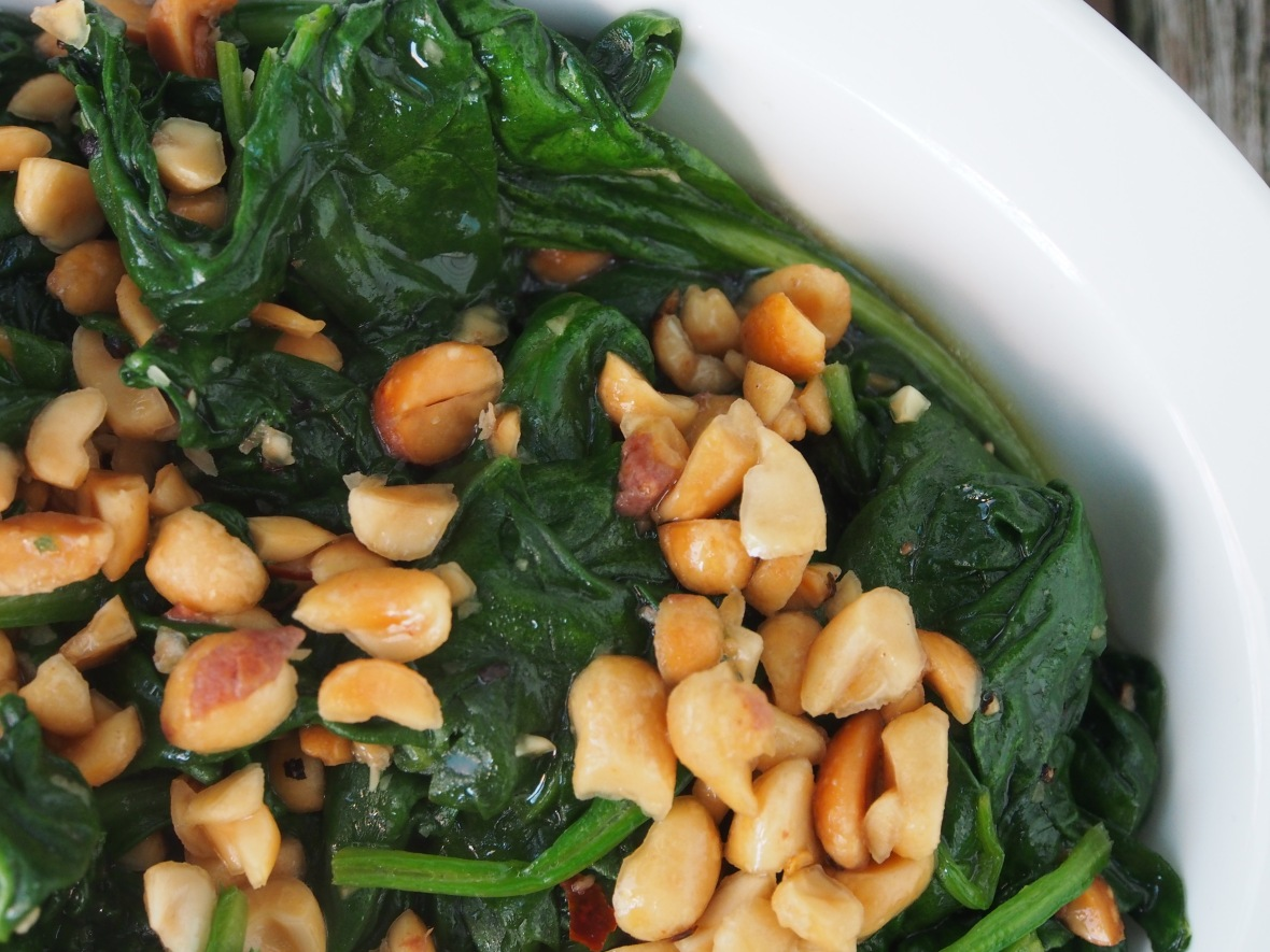 Vegetables, spinach, sauteed baby spinach with peanuts 1