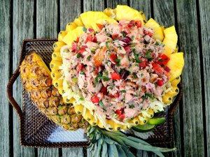 Appetizers, ceviche, lomi-lomi style salmon 1