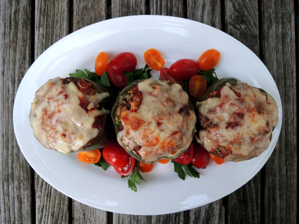 Vegetables, bell peppers stuffed with beef, cheese and rice (Nana's) 2