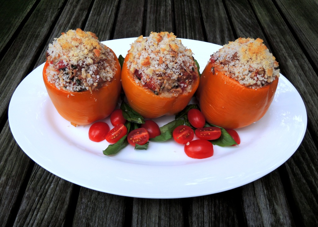 Vegetables, bell peppers stuffed with chicken, smoked mozzarella and basil 1
