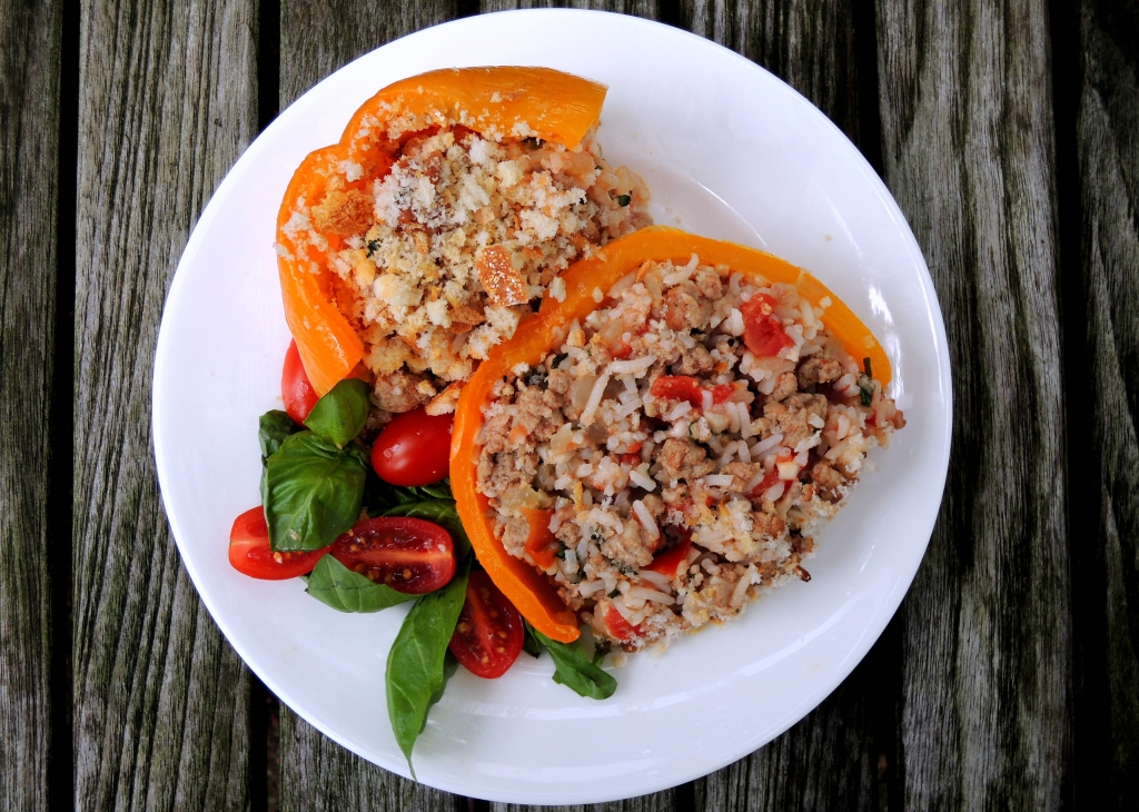 Vegetables, bell peppers stuffed with chicken, smoked mozzarella and basil 4