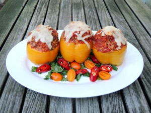 Vegetables, bell peppers stuffed with chile, Monterey Jack cheese and pork 1