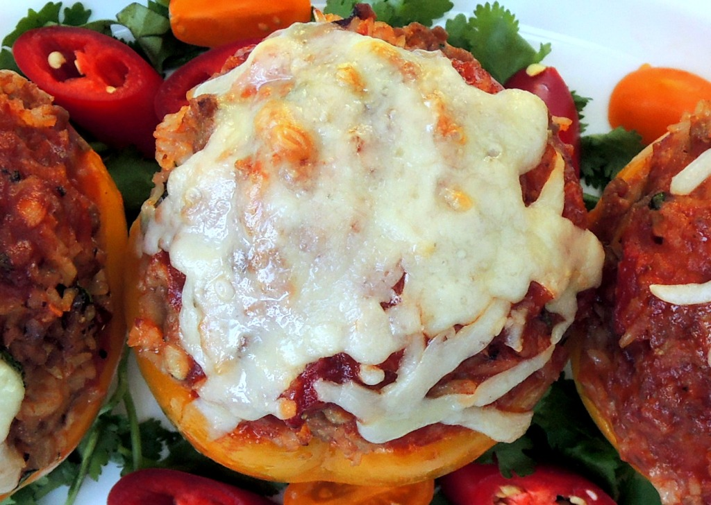 Vegetables, bell peppers stuffed with chile, Monterey Jack cheese and pork 3