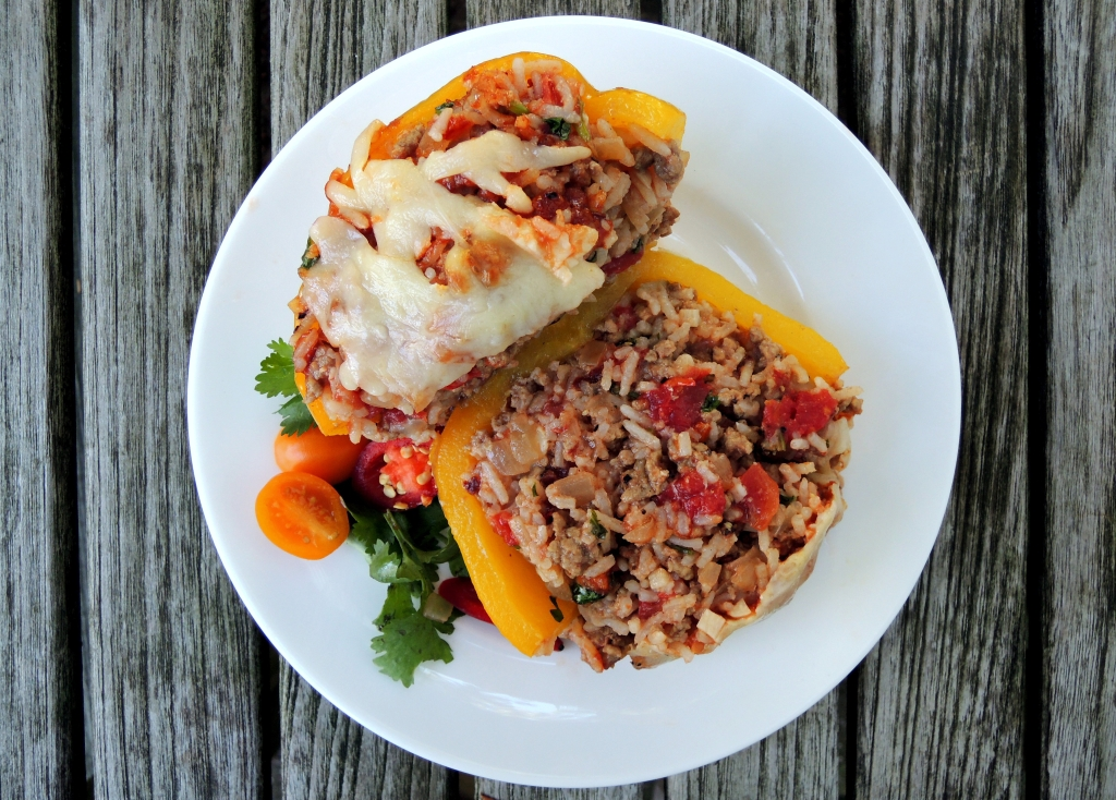 Vegetables, bell peppers stuffed with chile, Monterey Jack cheese and pork 4