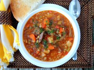 Soups, beef, barley, beef and mushroom soup 1