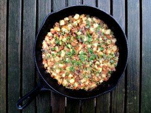 Hash, ham, green pepper and potato hash 1
