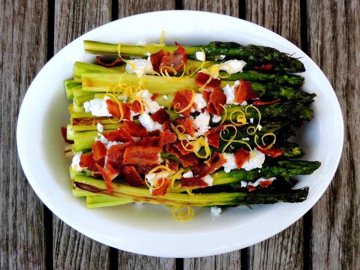 Vegetables, asparagus, roasted asparagus with bacon and chevre 1