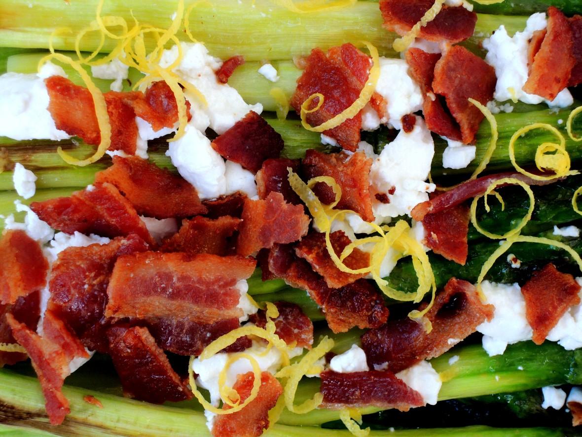 Vegetables, asparagus, roasted asparagus with bacon and chevre 2