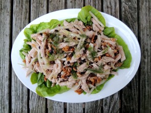 Salads, chicken salad with currants, fennel and walnuts 1