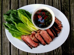 Beef, grilled steak with Korean marinade and spicy cilantro sauce 1