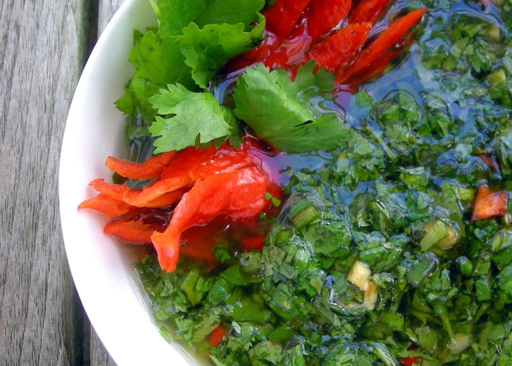 Condiments, herb sauces, Korean spicy cilantro sauce (for grilled steak) 2