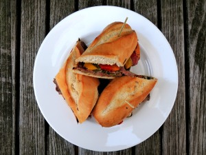 Sandwiches, grilled steak and roasted bell peppers with chimichurri sauce 1