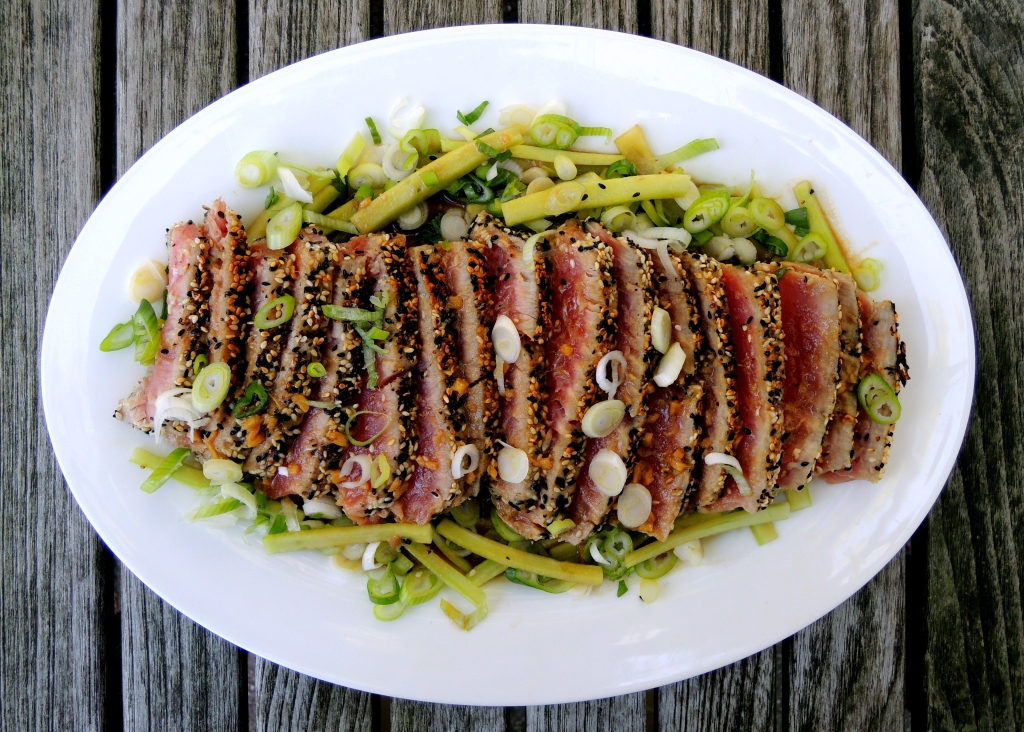 Fish, tuna, pan-seared tuna steaks with scallion wasabi sauce and sesame seed crust 1