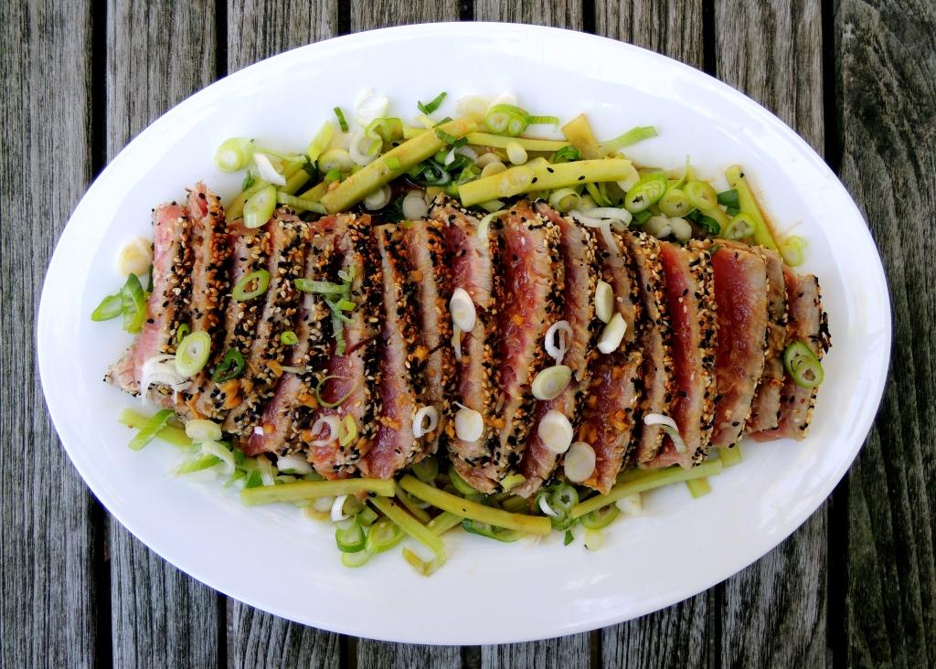 Fish, tuna, pan-seared tuna steaks with scallion wasabi sauce and sesame seed crust 1