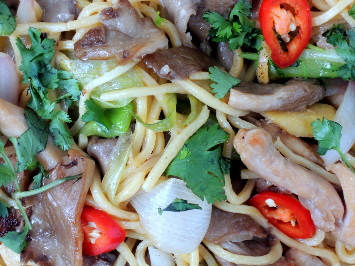 Pasta, lo mian with chicken and oyster mushrooms 3
