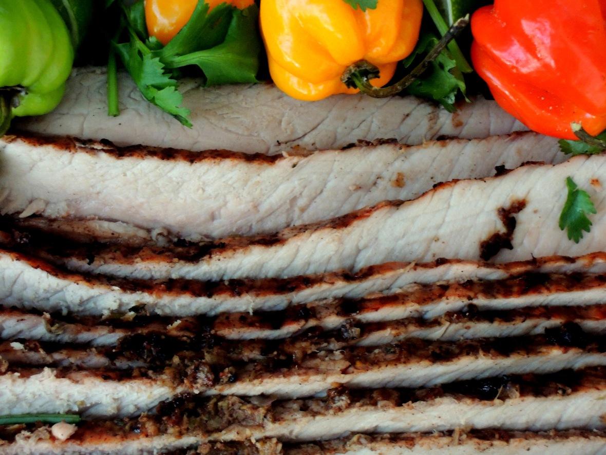 Pork, grilled butterflied pork loin with Jamaican jerk marinade 3