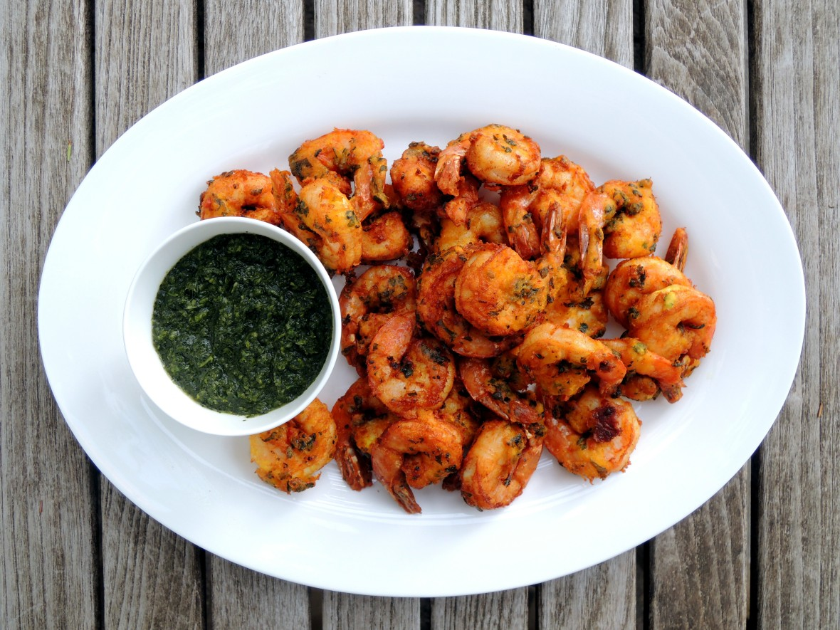 Shrimp, fried, spicy fried shrimp with green chutney 1