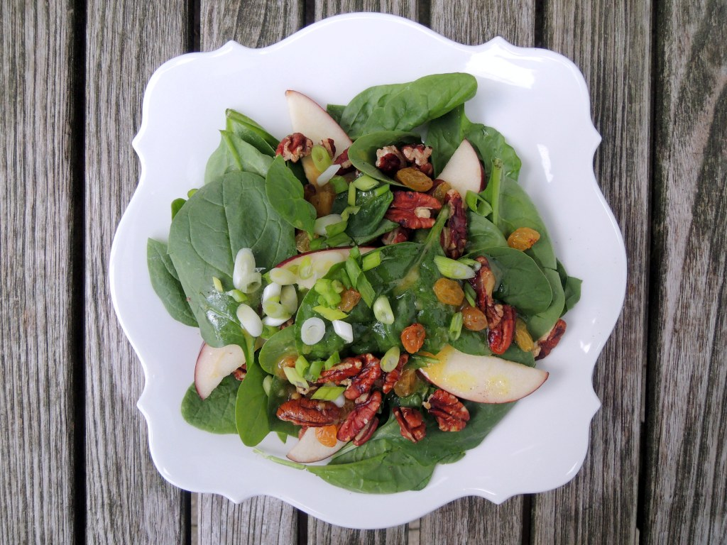 Salads, spinach salad with apples, pecans, raisins and chutney dressing 1