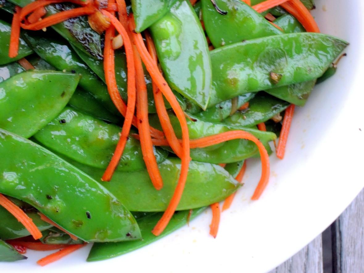 Vegetables, peas, snow peas, sauteed snow peas and carrots 2