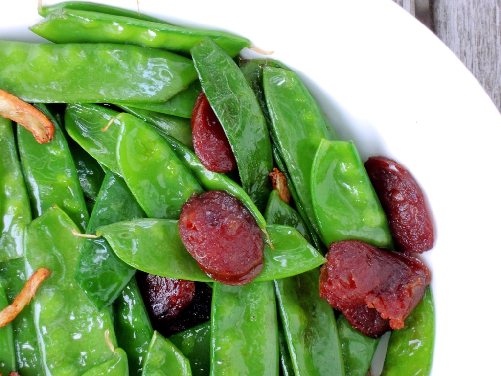 Vegetables, peas, snow peas, stir-fried snow peas with Chinese sausage and ginger 2