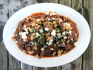 Beef, stews, Greek beef stew with feta and walnuts 1
