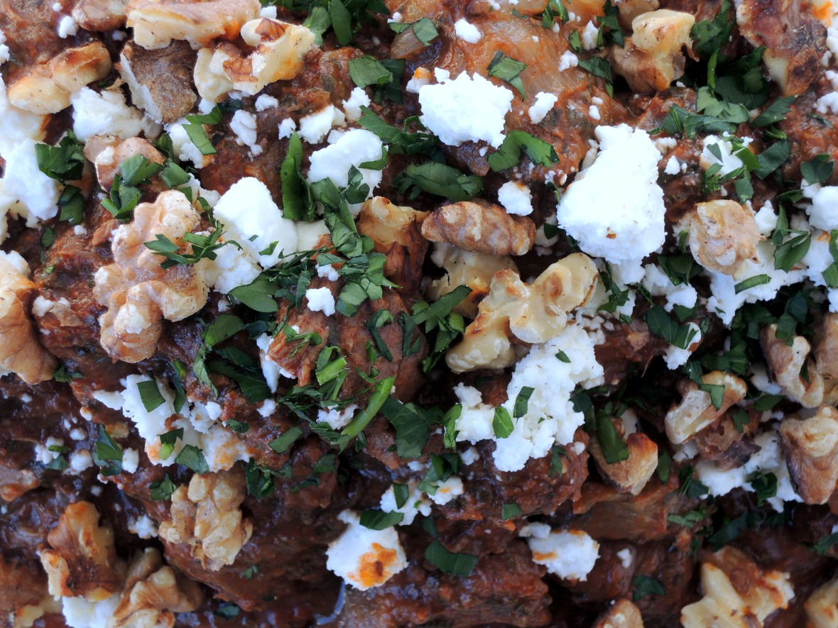 Beef, stews, Greek beef stew with feta and walnuts 3