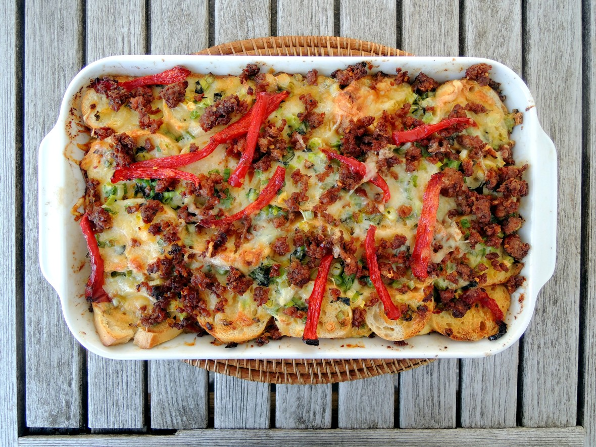 Eggs, strata with bell pepper, fontina and sausage 1