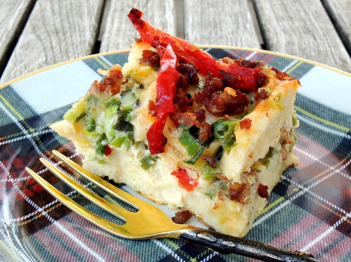 Eggs, strata with bell pepper, fontina and sausage 2