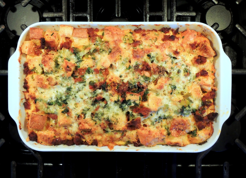 Eggs, strata with chili and chorizo 1
