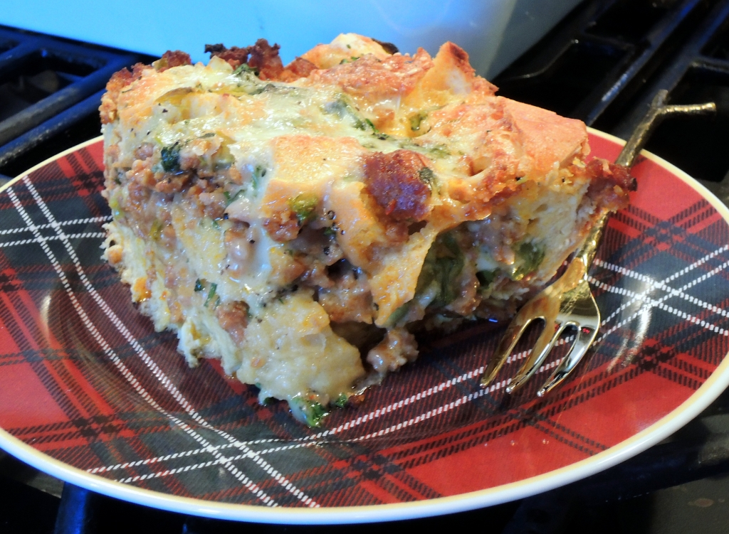 Eggs, strata with chili and chorizo 2