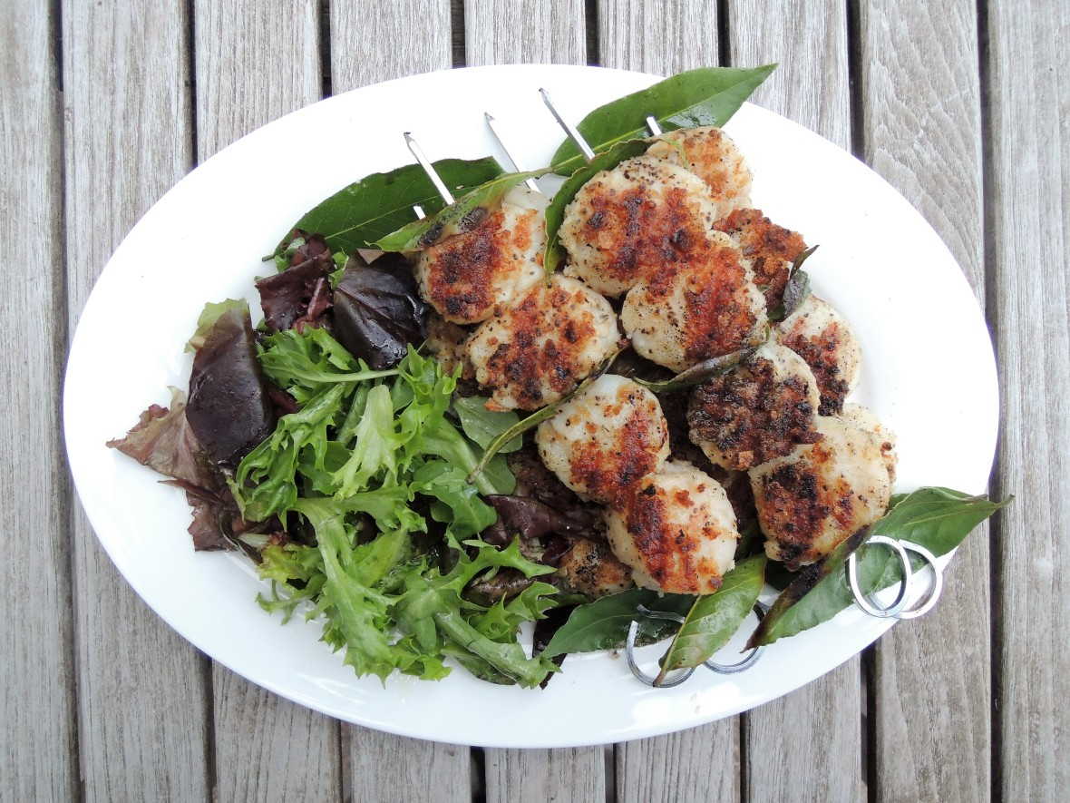Kebabs, coquilles saint jacques en brochette 1