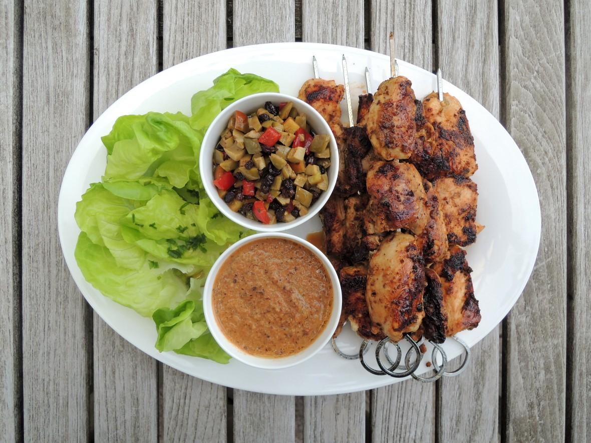 Kebabs, Tunisian chicken kebabs with currant and olive relish 1