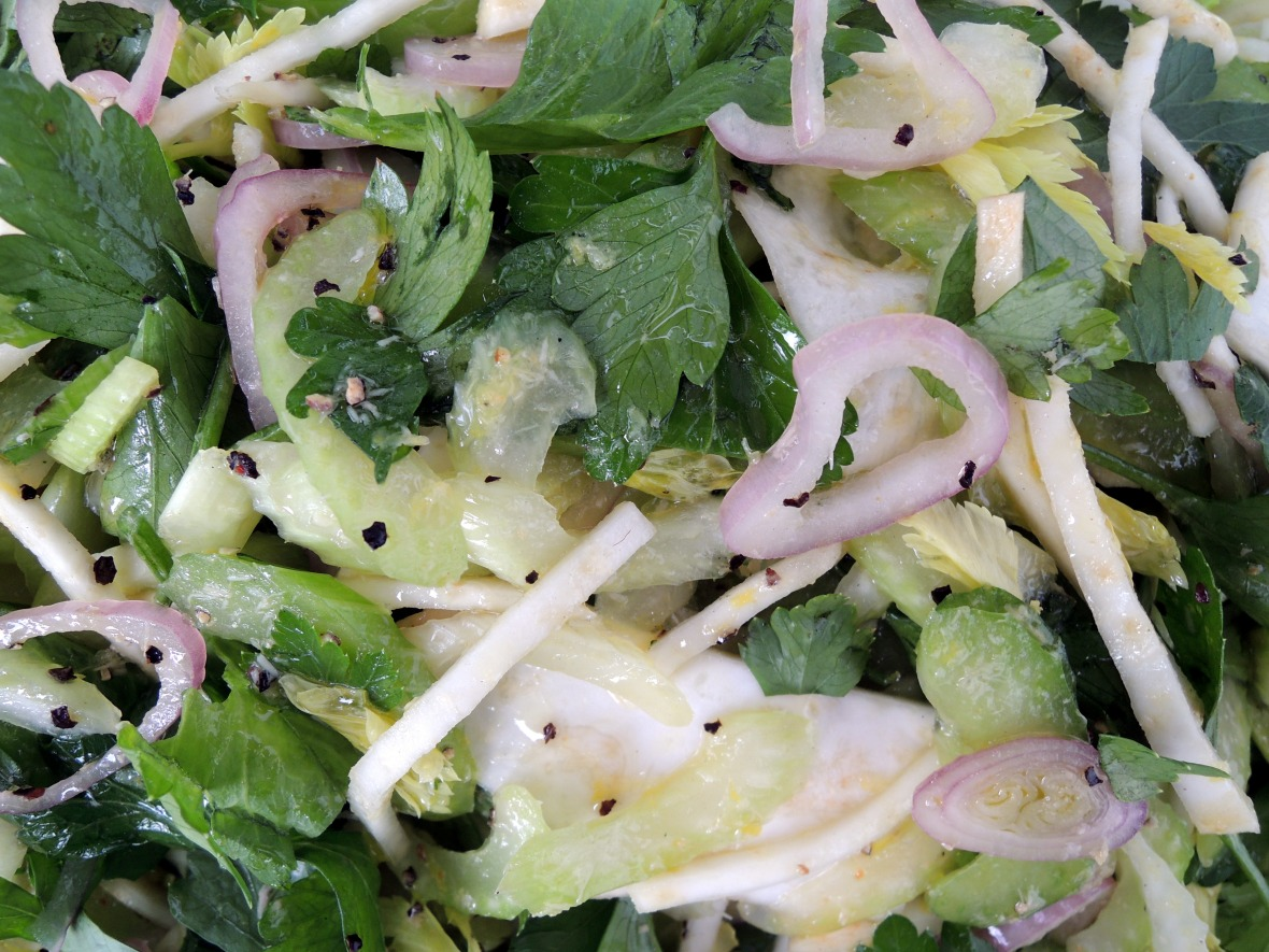 Salads, vegetable, celery salad with celery root and horseradish 2