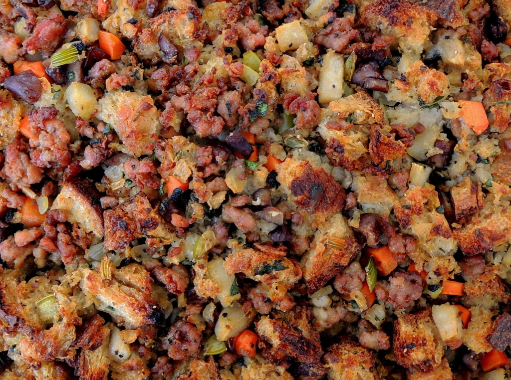 Turkey, stuffing, chestnut, pear and sage stuffing 2