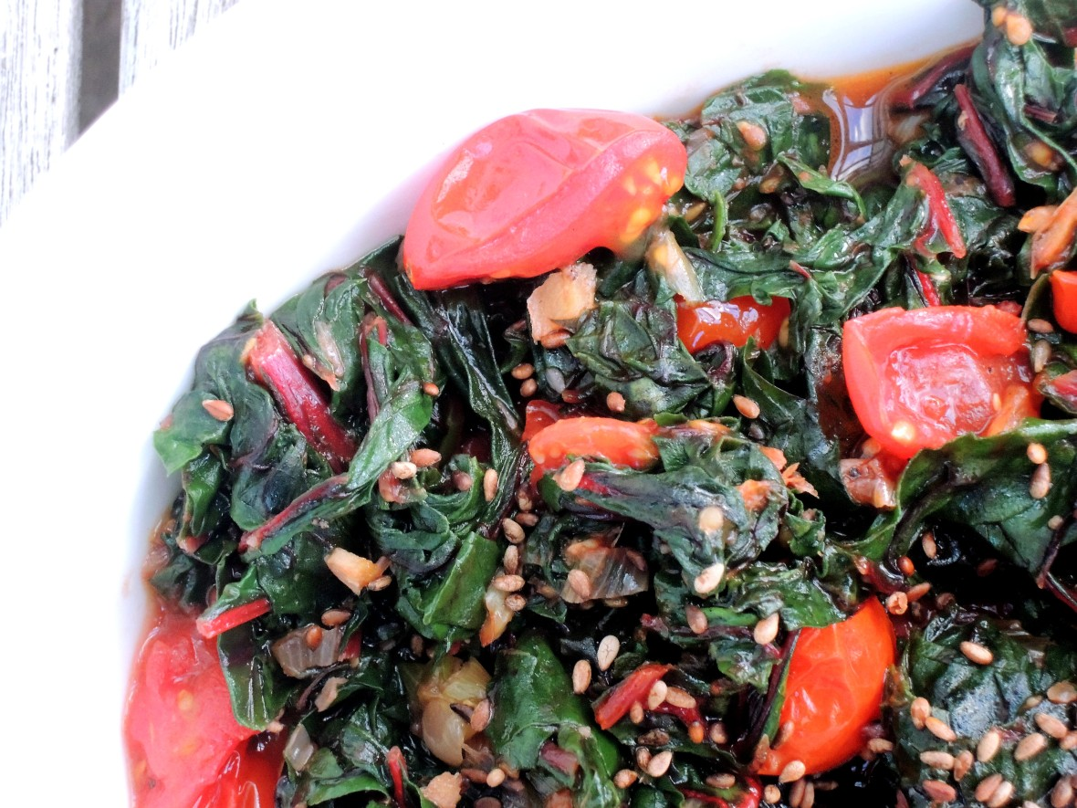 Vegetables, Swiss chard stir fried with seared tomatoes 2