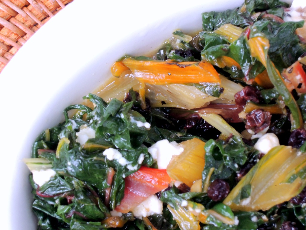 Vegetables, Swiss chard sauteed with currants and feta 2