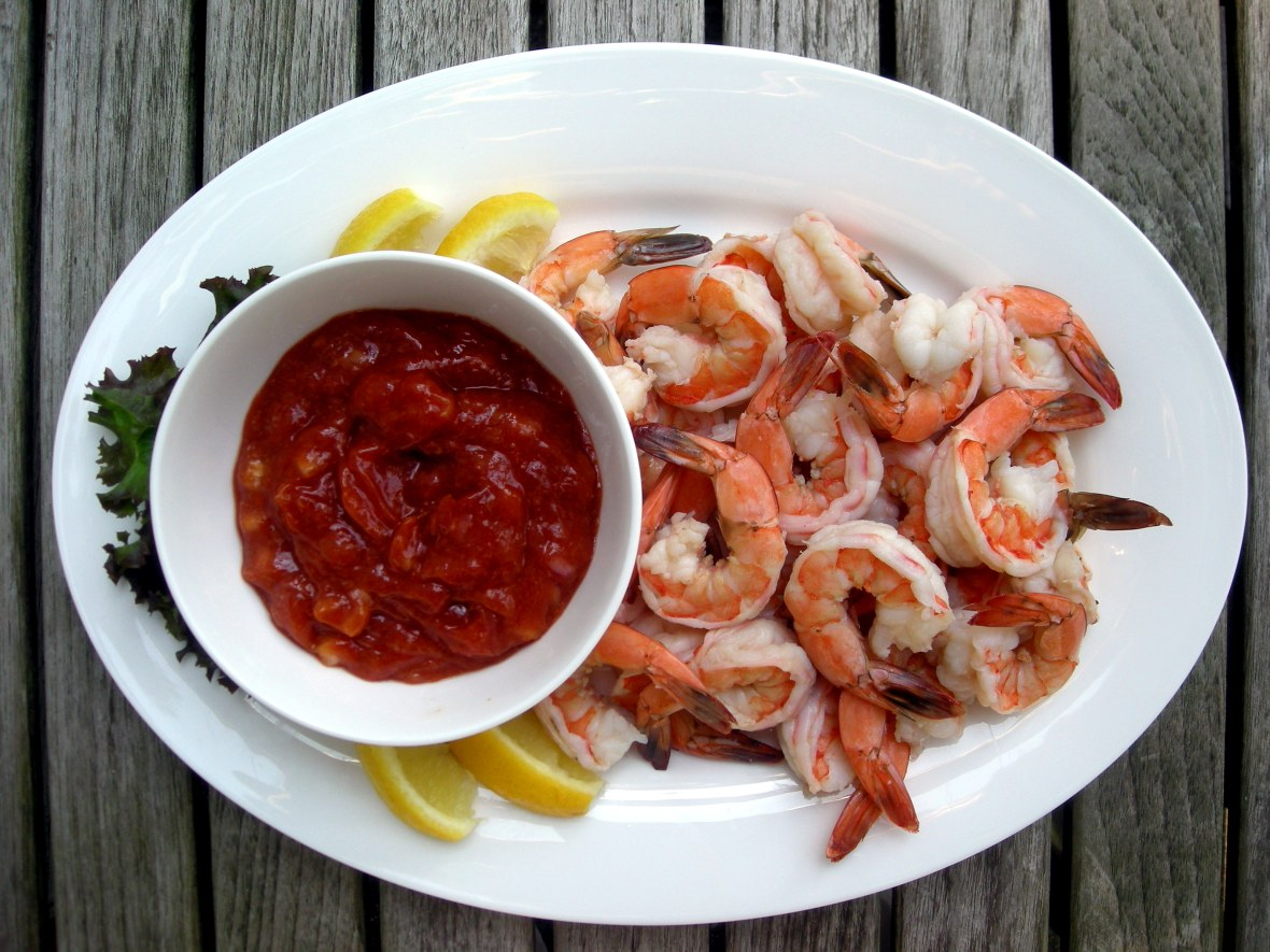 Appetizers, shrimp, boiled, prawn cocktail with Worcestershire cocktail sauce 1