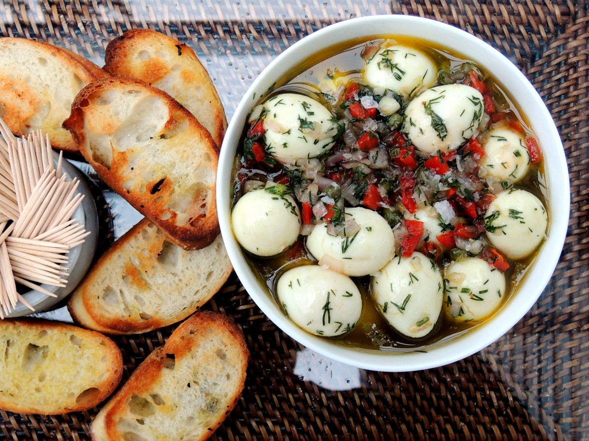 Appetizers, eggs, quail eggs, Spanish marinated quail eggs 1