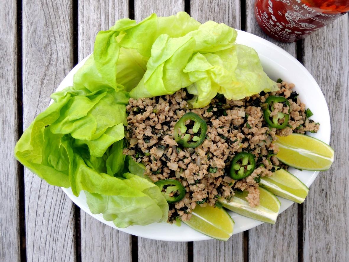 Appetizers, lettuce wraps, nam sod 1