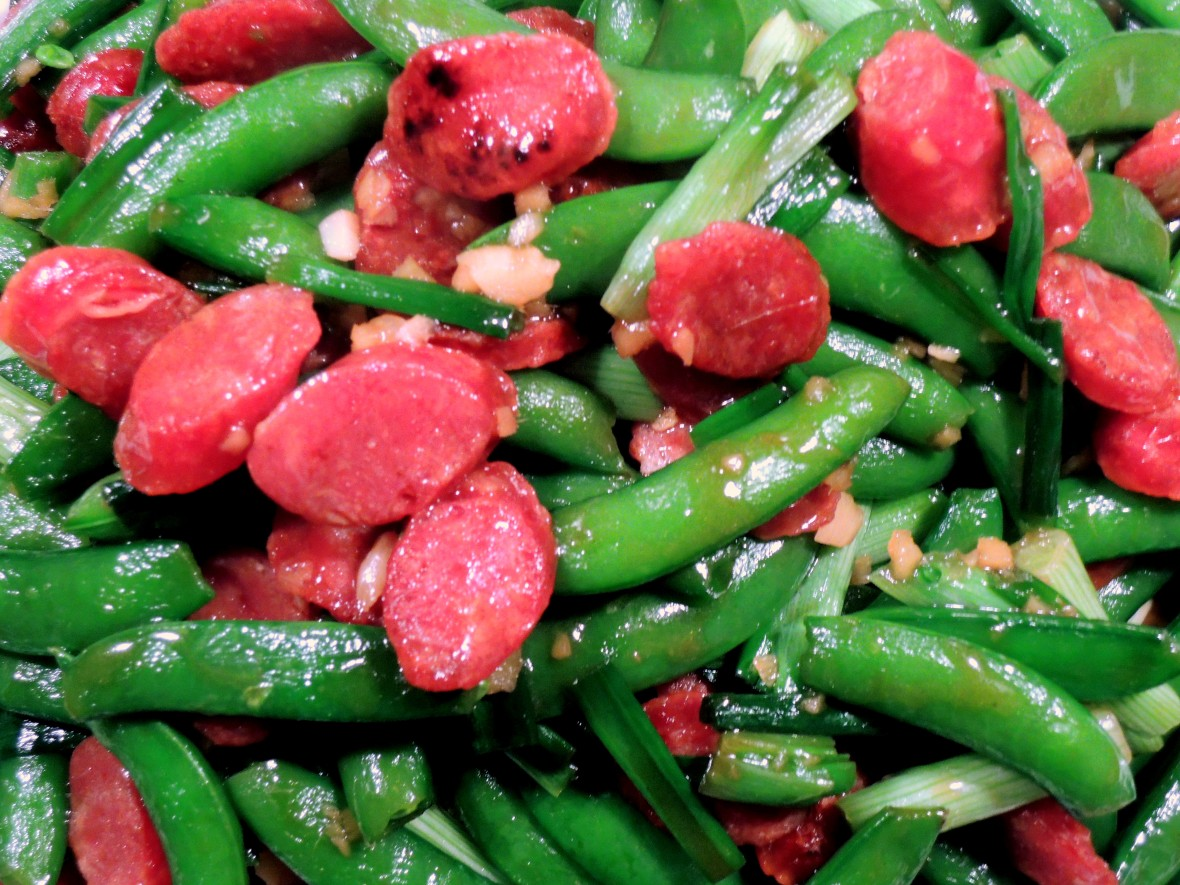 Stir-frys, Chinese sausage with sugar snap peas 2