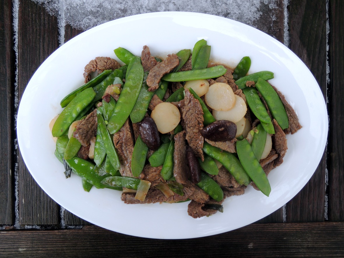 Stir-frys, Lomay's beef with snow peas 1