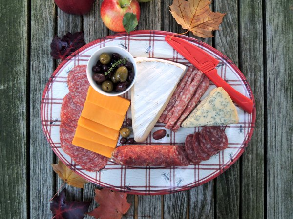 Picnics, apple picking, assorted cheeses, sausages, bread and crackers 1
