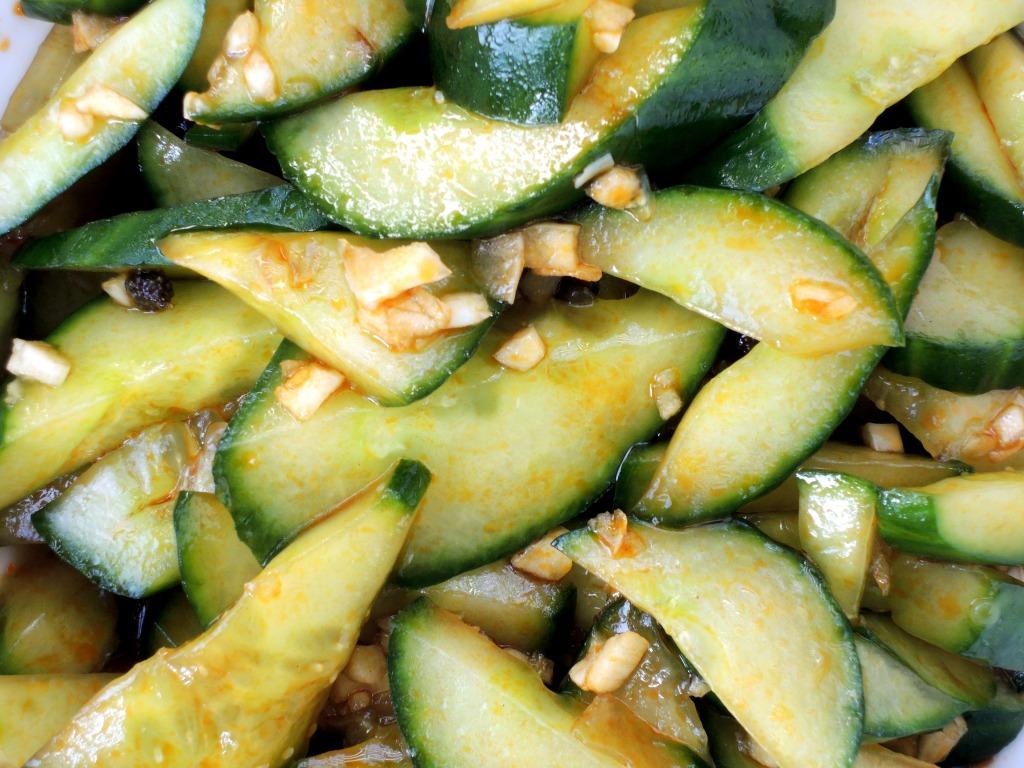 Salads, cucumber, Sichuan smacked cucumber in garlicky sauce 3