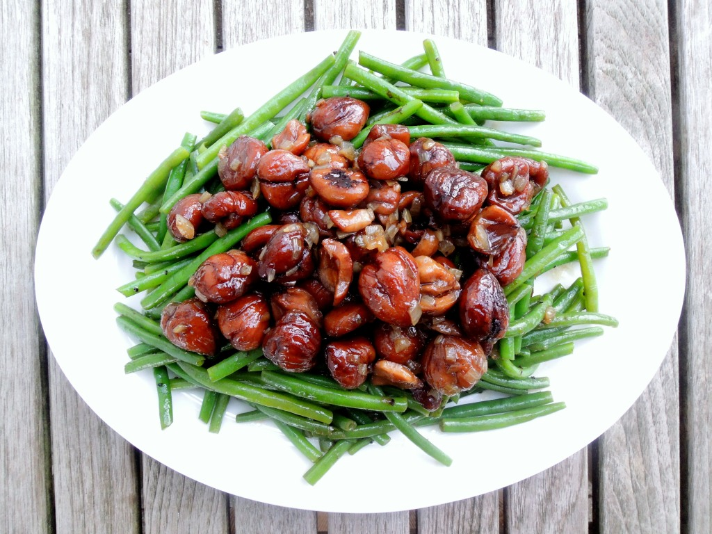 Vegetables, beans, French, blanched, with glazed chestnuts 1