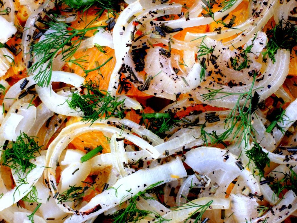 Vegetables, fennel, baked fennel with oranges 2
